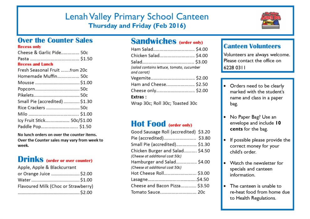 Canteen List